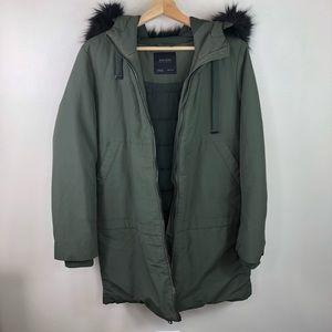 ZARA green parka jacket size medium faux fur